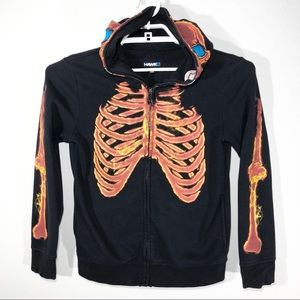 Tony Hawk Full Face Shield Med. Skeletal Hoodie
